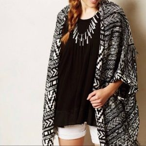 Anthropologie Moth Black & White Sweater Cardigan